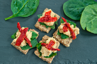 Almond Flax Crackers with Hummus, Spinach, and Sun-dried Tomato (Gluten Free)